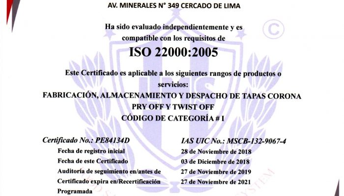 Certificado ISO 22000 Packaging Products del Perú.
